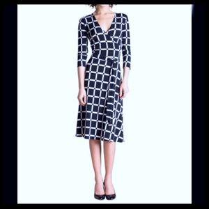 Stitch Fix Leota Daria Window Pane Faux Wrap Dress